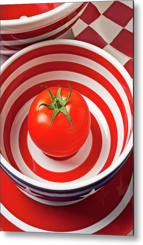 Tomato Metal Print featuring the photograph Tomato In Red And White Bowl by Garry Gay