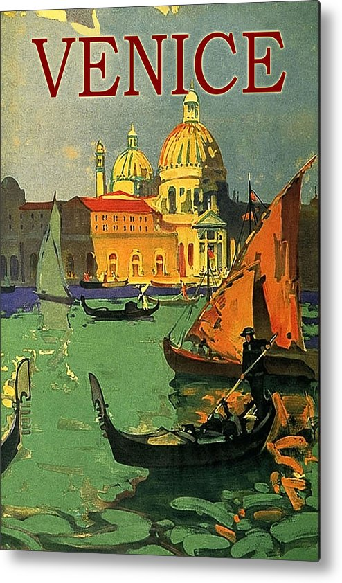Venice Metal Print featuring the painting Venice, Italy, Gondolas by Long Shot