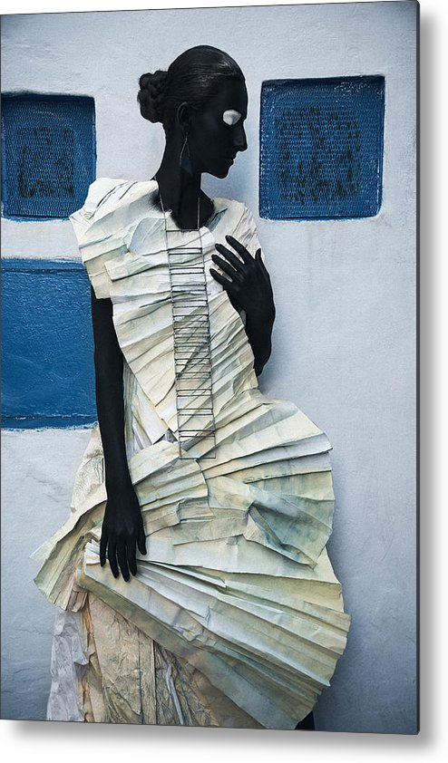Black Metal Print featuring the photograph Woman With Black Boby Paint In Paper Dress by Veronica Azaryan
