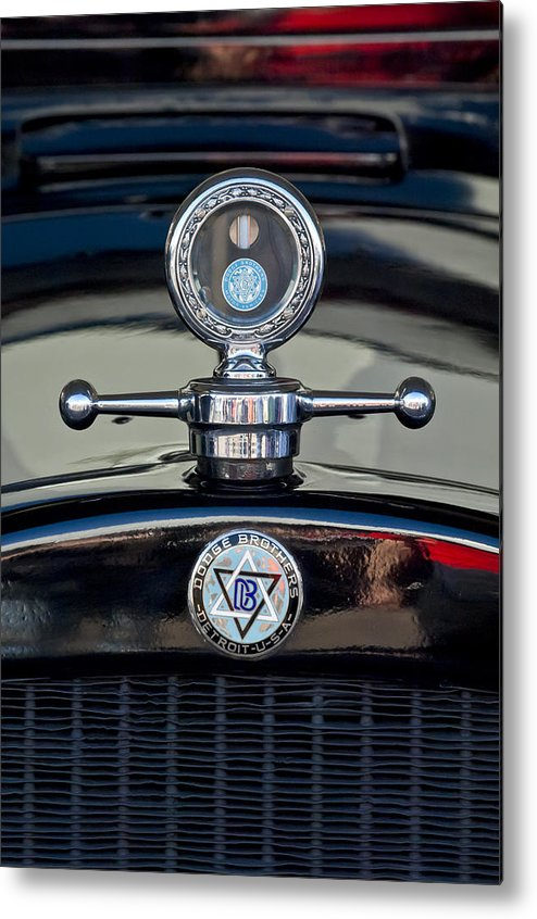 1928 Dodge Brothers Metal Print featuring the photograph 1928 Dodge Brothers Hood Ornament by Jill Reger