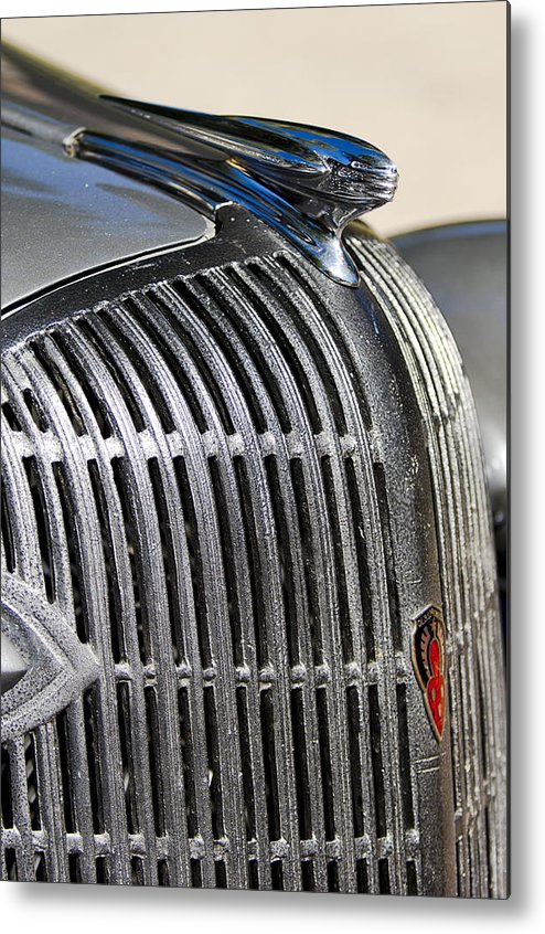 1936 Oldsmobile Metal Print featuring the photograph 1936 Oldsmobile Hood Ornament by Jill Reger