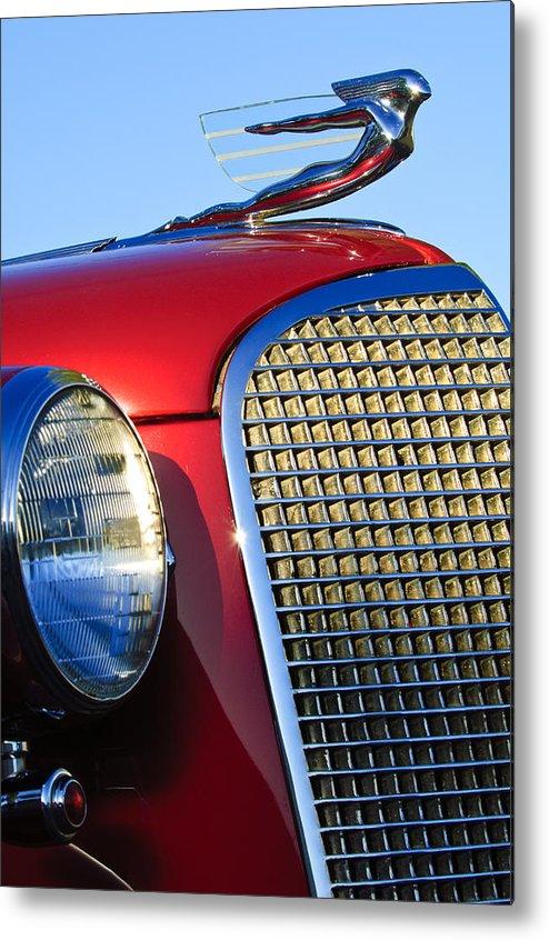 1937 Cadillac V8 Metal Print featuring the photograph 1937 Cadillac V8 Hood Ornament 2 by Jill Reger