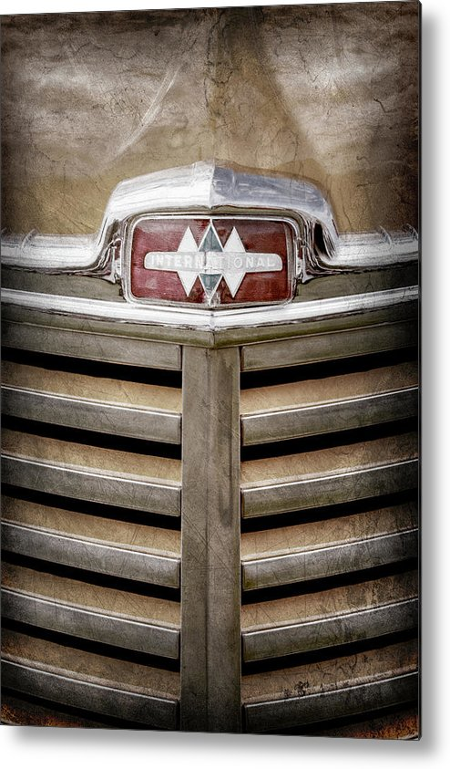 1948 International Hood Emblem Metal Print featuring the photograph 1948 International Hood Emblem -0227ac by Jill Reger