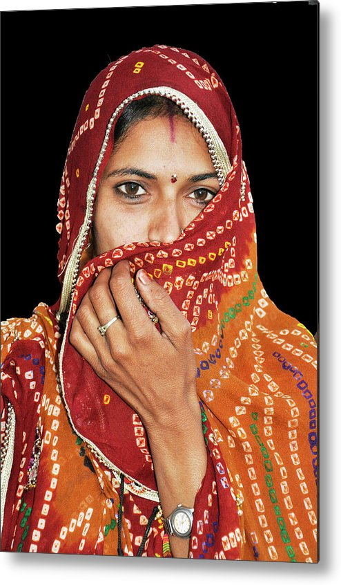 Indian Metal Print featuring the photograph Lady In Red by Vijay Sharon Govender