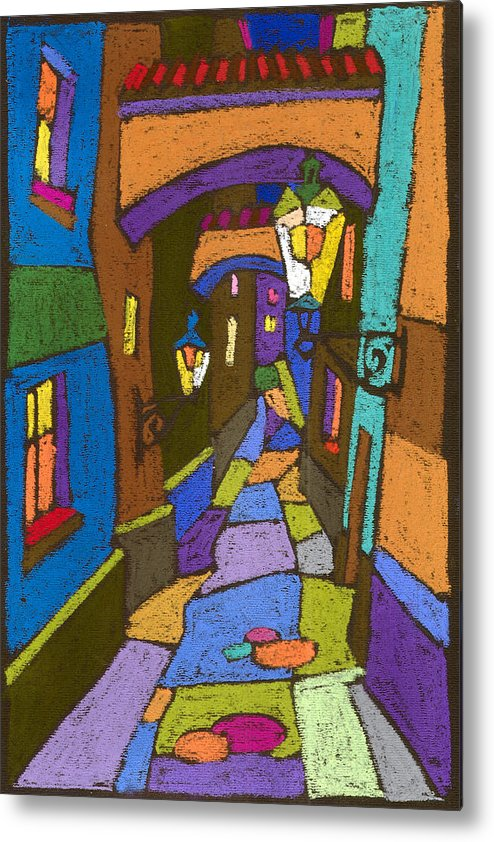 Pastel Metal Print featuring the painting Prague Old Street by Yuriy Shevchuk