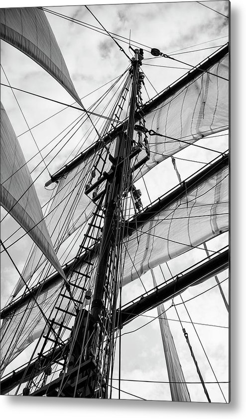 Adventure Metal Print featuring the photograph Vintage Style Picture Of Beautiful Sail Boat Details. Rope, Hull by Matthew Gibson