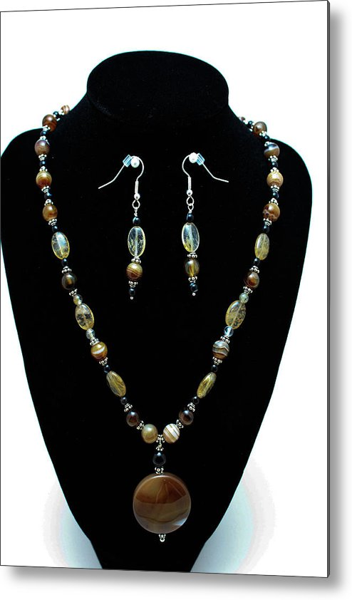 Jewelry Metal Print featuring the jewelry 3509 Amber Striped Onyx Set by Teresa Mucha