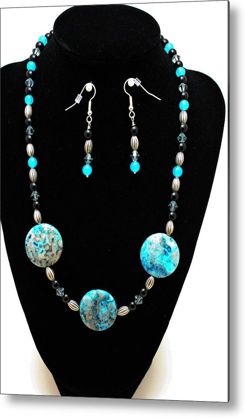 Jewelry Metal Print featuring the jewelry 3517 Crazy Lace Agate Set by Teresa Mucha