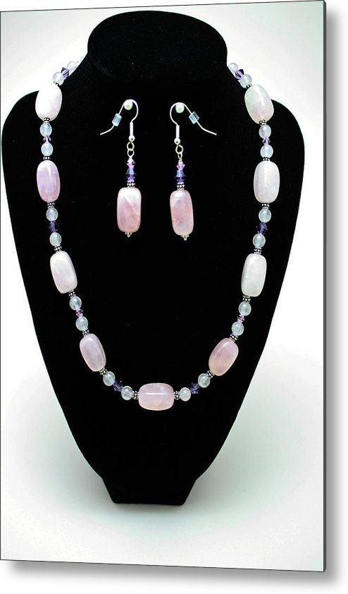 Jewelry Metal Print featuring the jewelry 3560 Rose Quartz Necklace And Earrings Set by Teresa Mucha