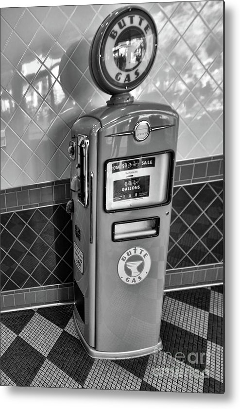 California Adventure Metal Print featuring the photograph 50's Gas Pump Bw by Chuck Kuhn