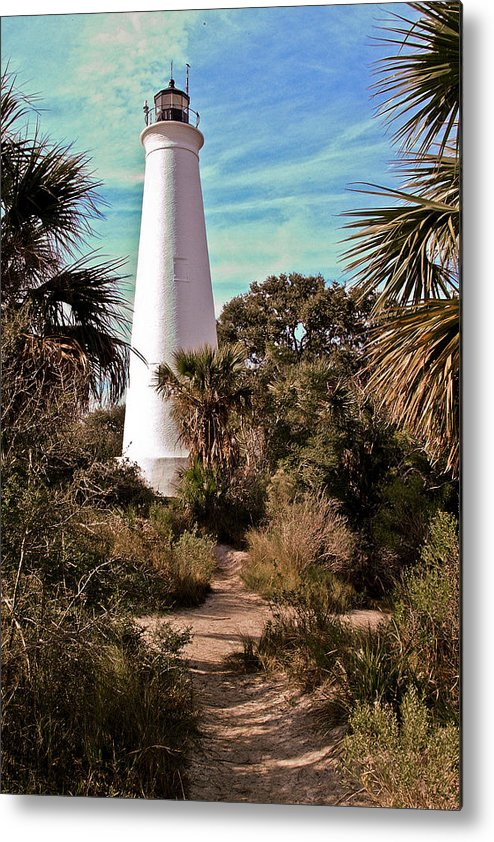 Color Photography Metal Print featuring the photograph St Marks Lighthouse by Wayne Denmark
