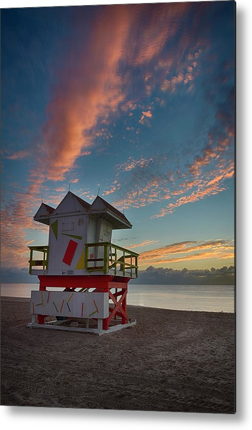 Atlantic Metal Print featuring the photograph 7944- Miami Beach Sunrise by David Lange