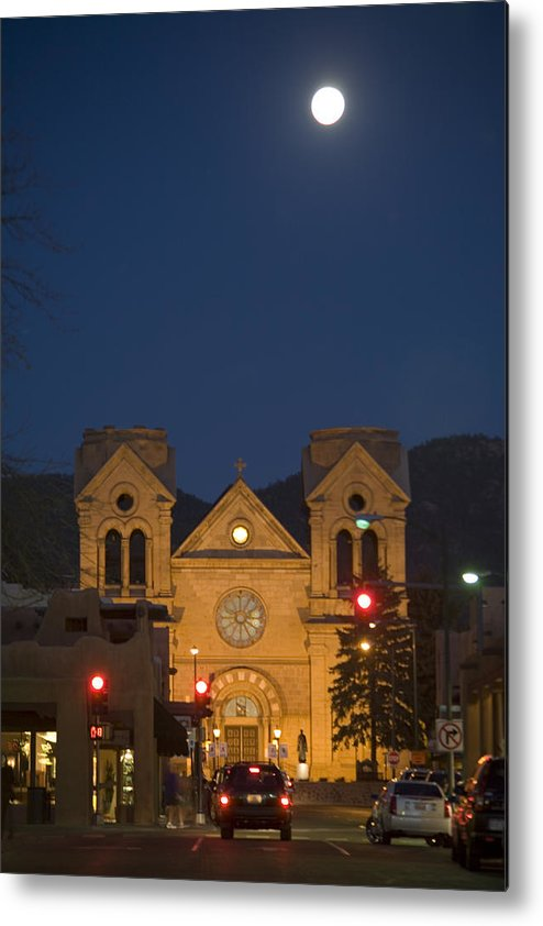 New Mexico Metal Print featuring the photograph A Full Moon Rises Over Cathedral by Stephen St. John
