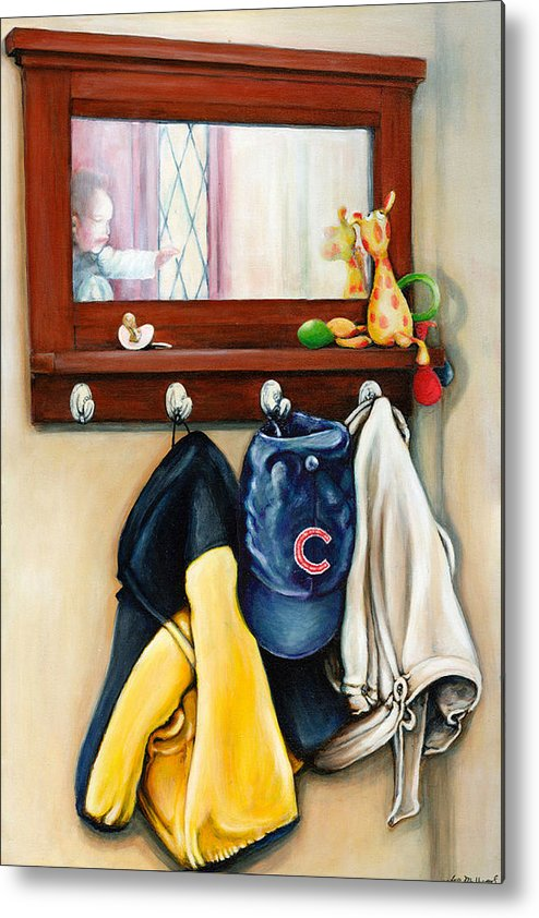 Toys Metal Print featuring the painting A Grandsons Prized Possessions Cubs by Leo Malboeuf