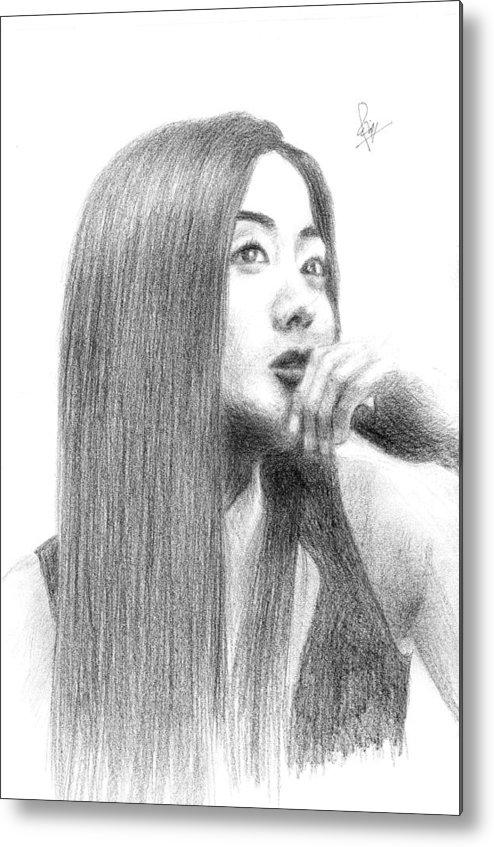Korean Actres Metal Print featuring the drawing a Korean Girl by Reza Naqvi