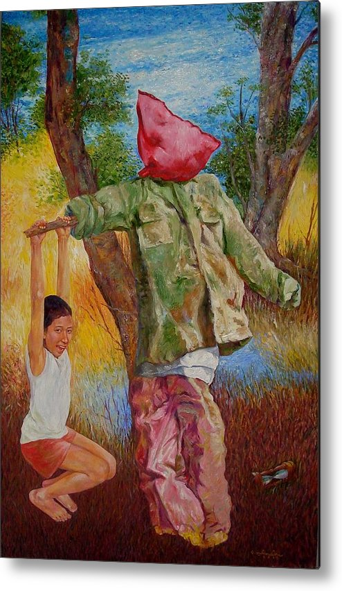 Scarecrow Painting Metal Print featuring the painting A Time In Summer by Edwin Jumalon
