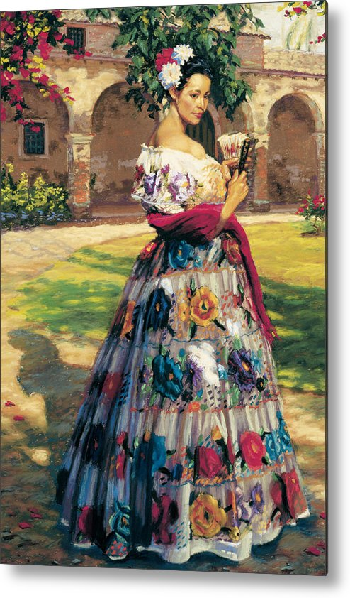 Woman Elaborately Embroidered Mexican Dress. Background Mission San Juan Capistrano. Metal Print featuring the painting Al Aire Libre by Jean Hildebrant