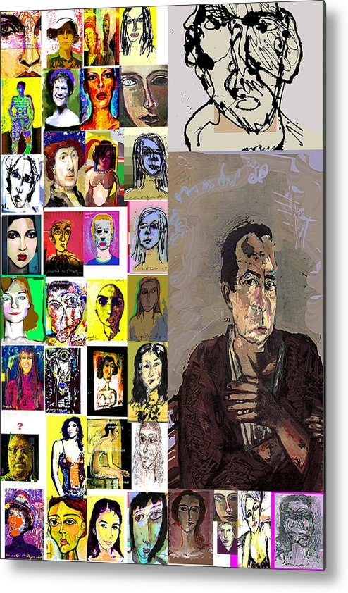 Faces Metal Print featuring the mixed media All About Faces by Noredin Morgan