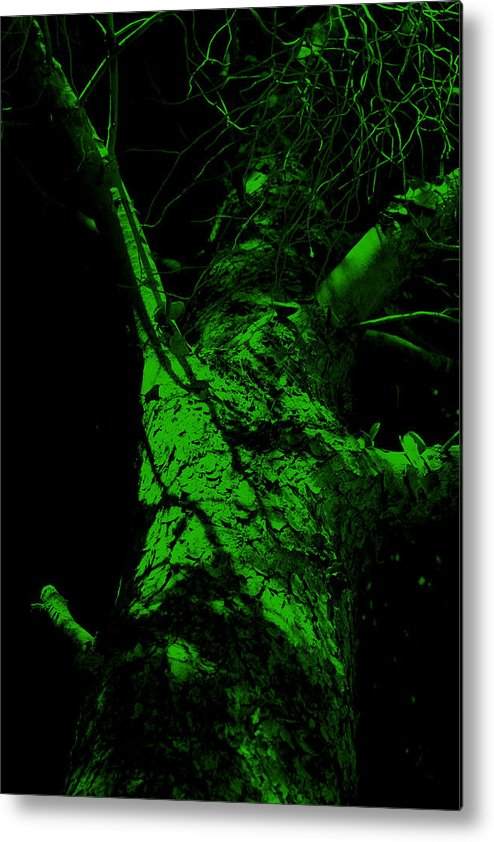 Tree Metal Print featuring the painting Alone Darkness 1 by Lounge Mode Productions Art