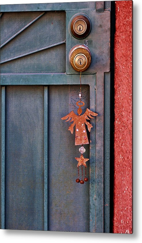 Angel Metal Print featuring the photograph Angel At The Door by Carol Leigh