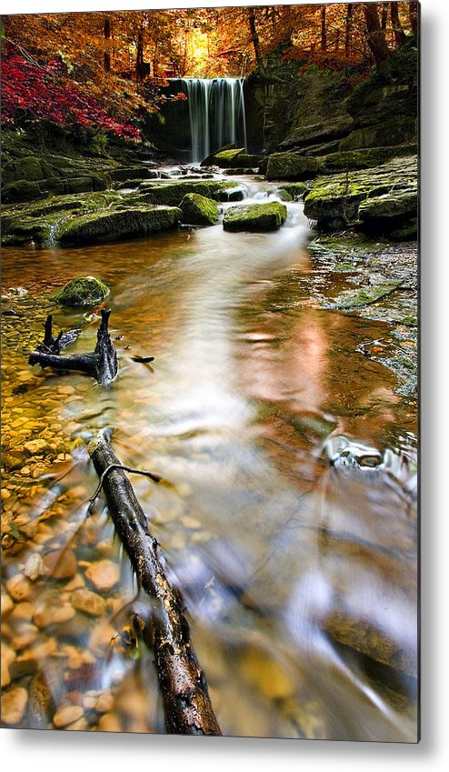 Autumn Metal Print featuring the photograph Autumnal Waterfall by Meirion Matthias