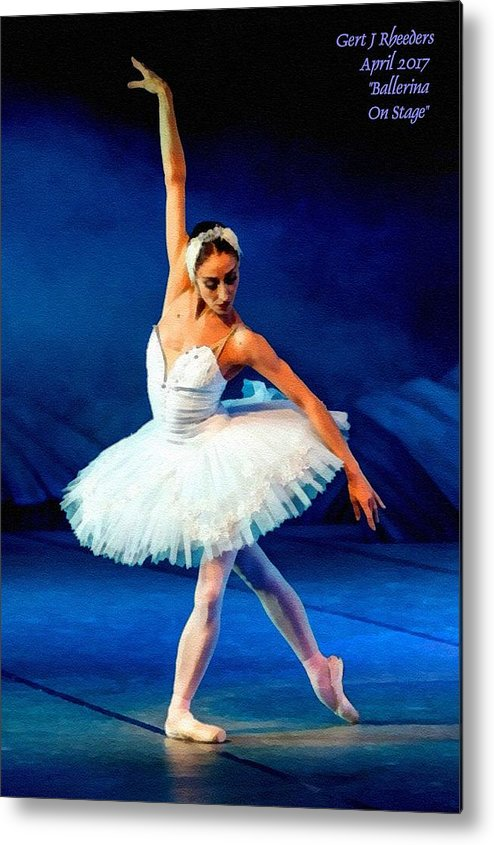 Ballet Metal Print featuring the painting Ballerina On Stage L A Nv by Gert J Rheeders