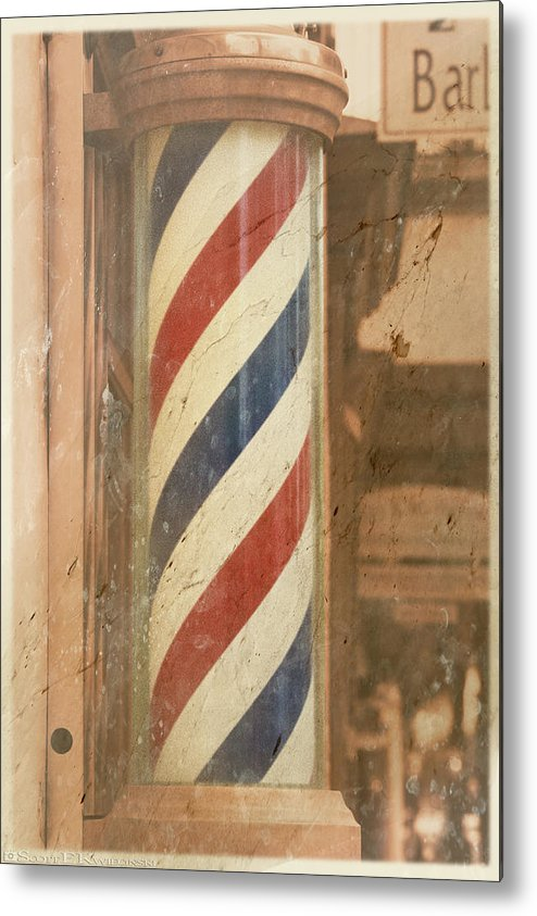 Barber Pole Metal Print featuring the photograph Barber Pole by Scott Kwiecinski