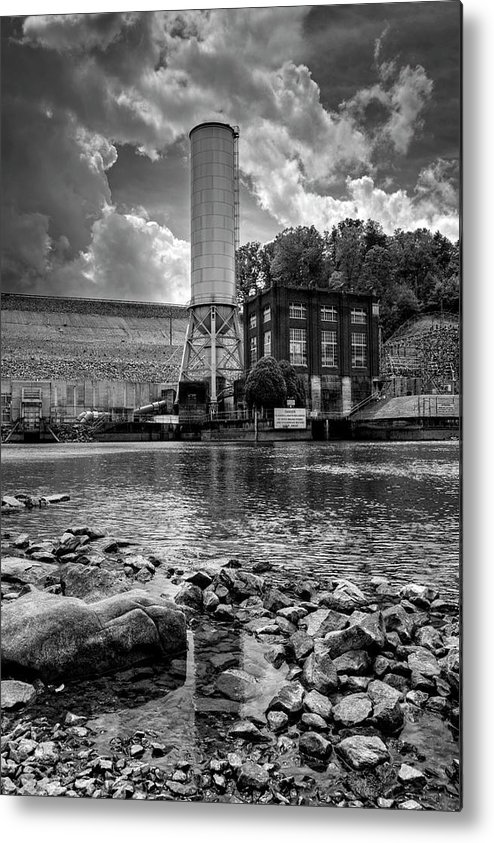Lake Blue Ridge Metal Print featuring the photograph Below The Dam In Black And White by Greg and Chrystal Mimbs