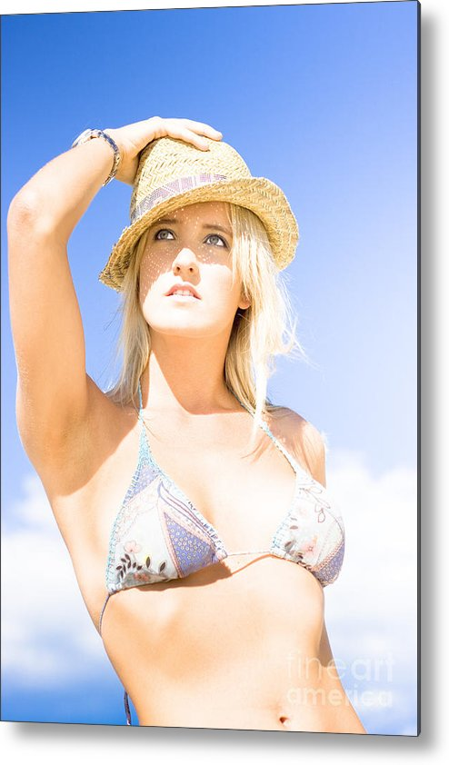 Background Metal Print featuring the photograph Bikini Lady Against Blue Sky Background by Jorgo Photography - Wall Art Gallery