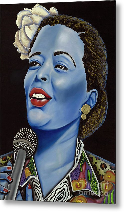 Portrait. Metallic Accessories Metal Print featuring the painting Billie by Nannette Harris