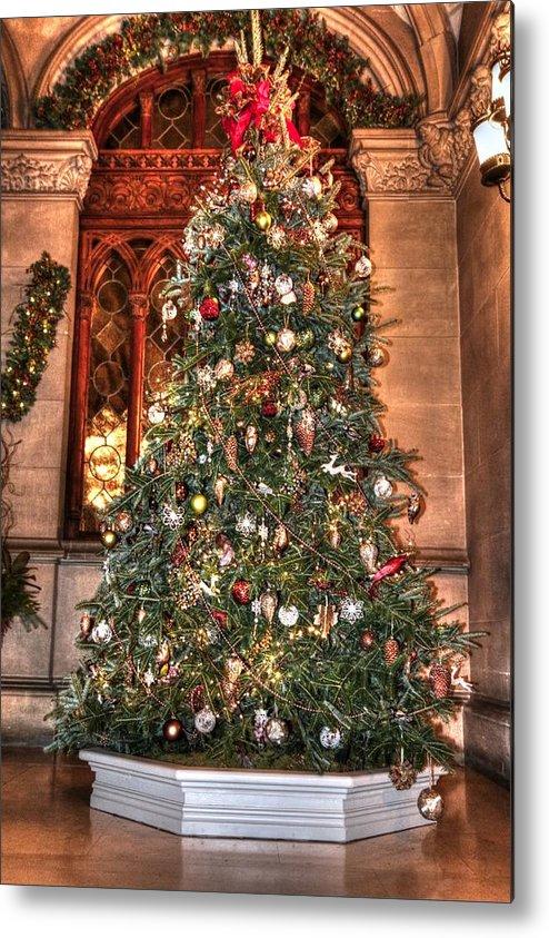 Biltmore Christmas Tree Metal Print by Carol R Montoya