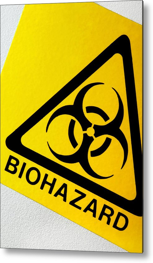 Label Metal Print featuring the photograph Biohazard Symbol by Tim Vernon, Nhs Trust