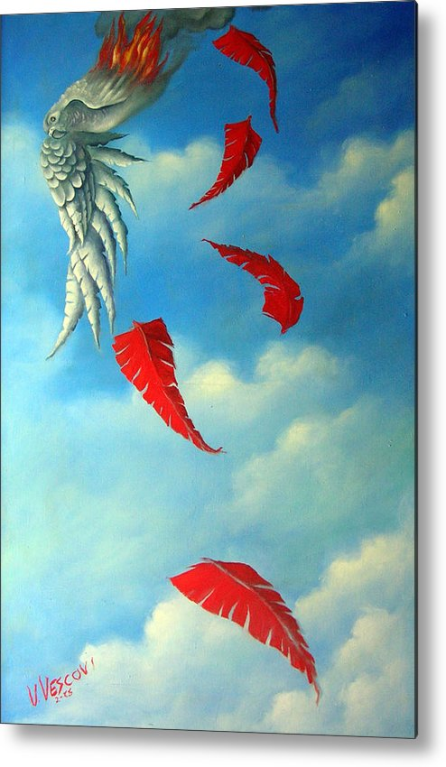 Surreal Metal Print featuring the painting Bird On Fire by Valerie Vescovi