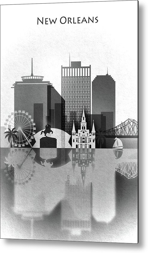 Black And White Metal Print featuring the painting Black And White New Orleans by Dim Dom