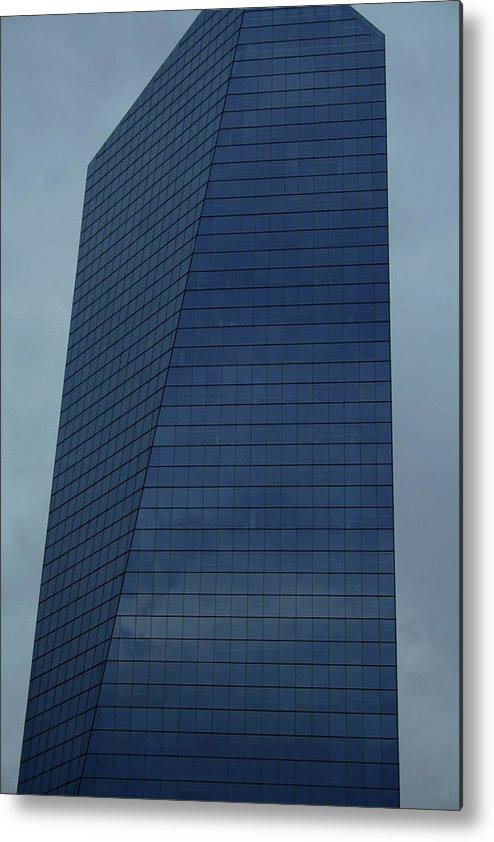 City Metal Print featuring the photograph Blue Building by Linda Sannuti