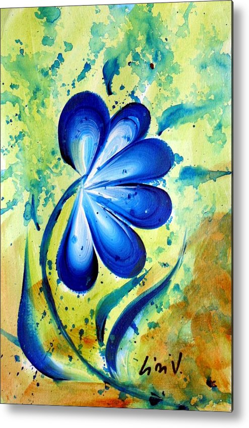 Flower Metal Print featuring the painting Blue Mood by Luiza Vizoli