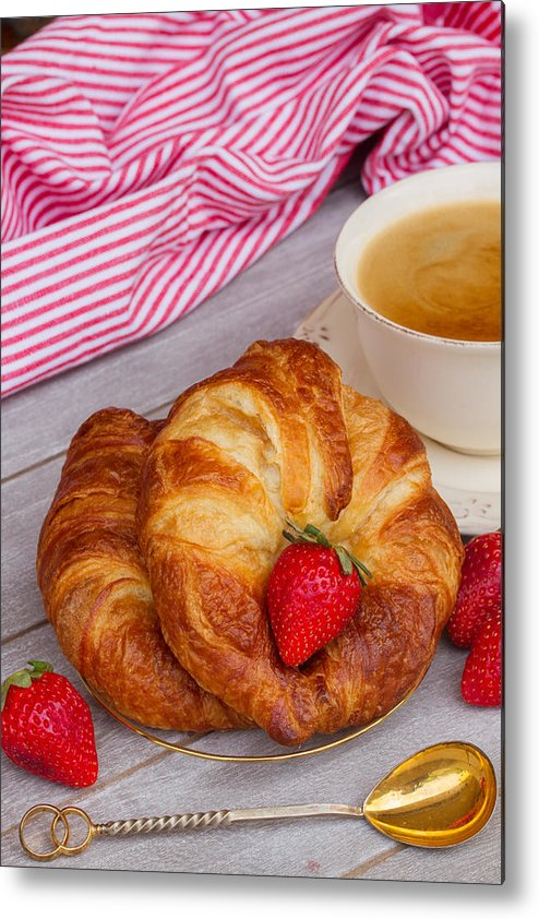 Breakfast Metal Print featuring the photograph Breakfast With Croissants by Anastasy Yarmolovich