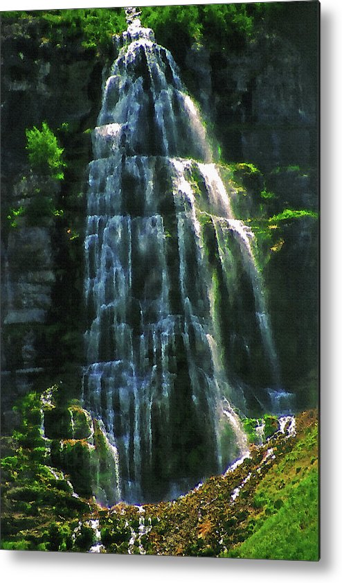 Water Metal Print featuring the photograph Bridal Veil Falls Canvas 2 by Steve Ohlsen