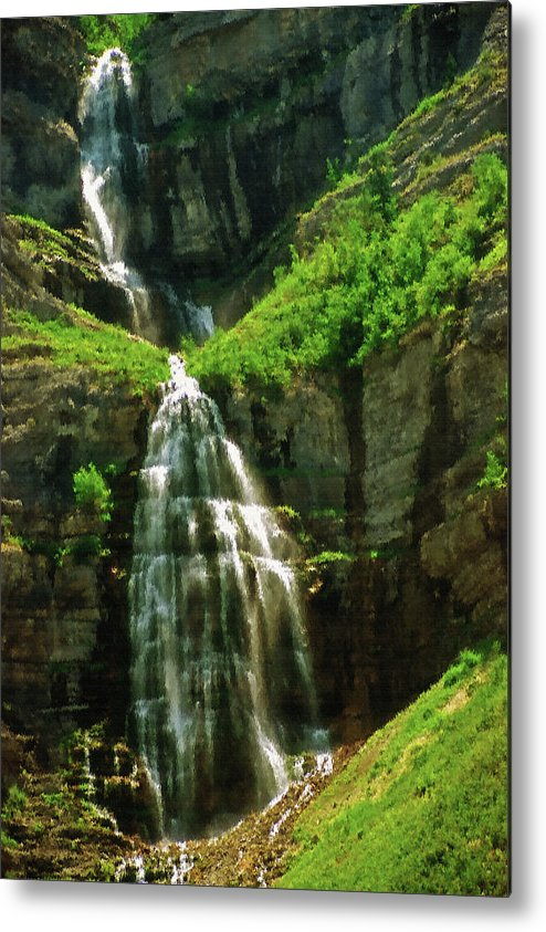 Falls; Fall; Waterfall; Nature; Natural; Water; Falling Water; Cascading Water; Cascading; Falling; Cascading Falls; Cascading Waterfall; Cool; Fresh; Pure; Clean; Rejuvenating; Refreshing; Tranquil; Peaceful; Calming; Quiet; Meditative; Mountainous; Mountains; Summer; Summertime; Scenic; Scenery; Landscape; Rock; Rocky; Canyon Wall; Cliff; Canyon; Provo Canyon; Utah; Bridal Veil Falls; Environmental; Environment; Resource; Earths Resources; Digital Art; Textured; Painterly; Canvas; Artistic Metal Print featuring the photograph Bridal Veil Falls Canvas 3 by Steve Ohlsen