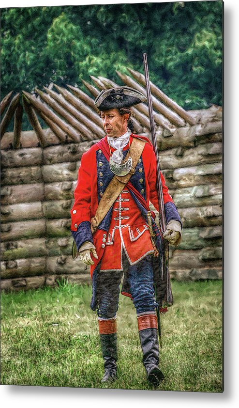 Uniform Metal Print featuring the digital art British Officer At Fort Ligonier 1758 by Randy Steele