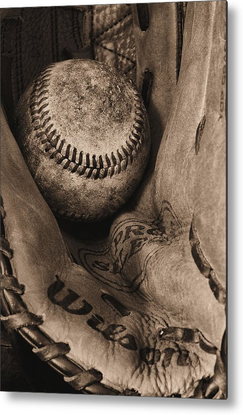 Baseball Metal Print featuring the photograph Broken In Bw by JC Findley