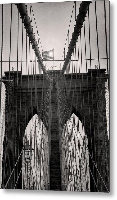 New York Photographs Metal Print featuring the photograph Brooklyn Bridge by Tonino Guzzo