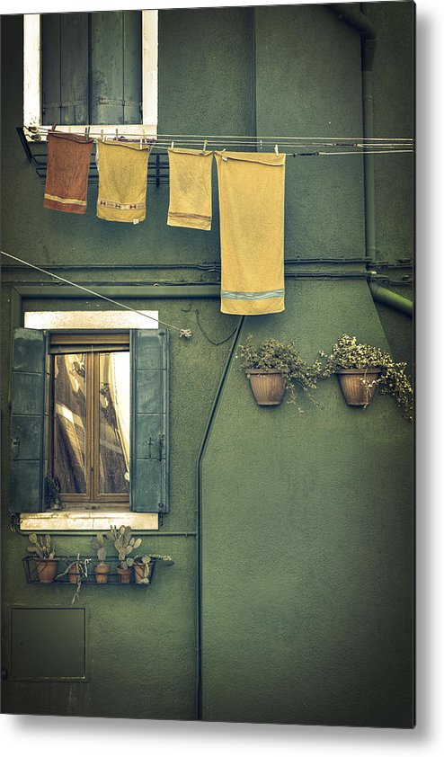 Green Metal Print featuring the photograph Burano - Green House by Joana Kruse