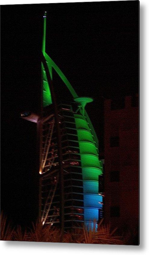 Burj Dubai Emirates Middle East Hotel 7star Night Metal Print featuring the photograph Burj Al Arab Dubai Night by Iain MacVinish