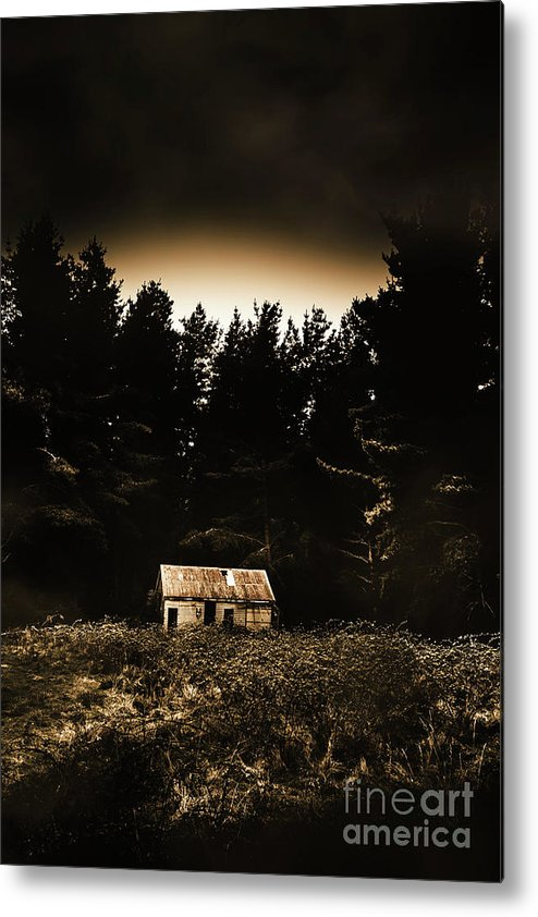 Woods Metal Print featuring the photograph Cabin In The Woodlands by Jorgo Photography - Wall Art Gallery