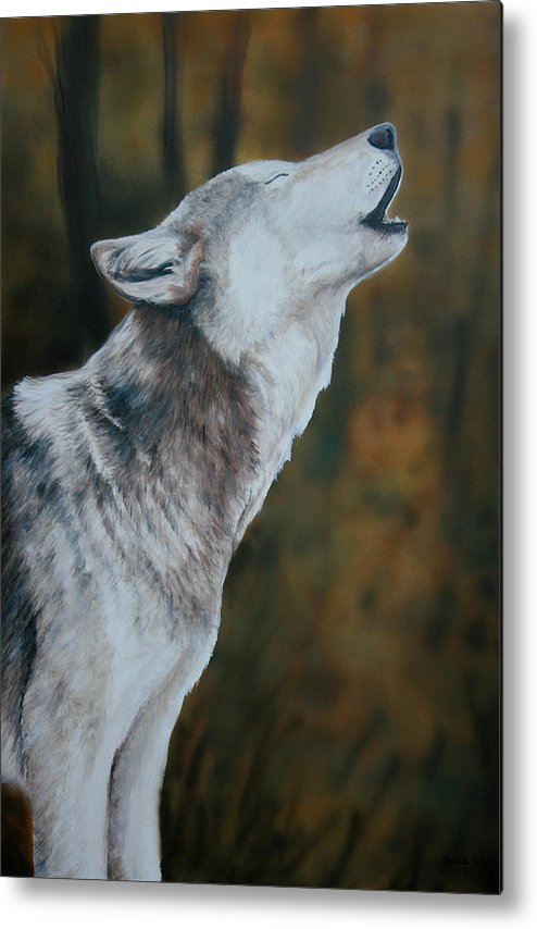 Wolf Metal Print featuring the painting Call Of The Wild by Charlotte Yealey