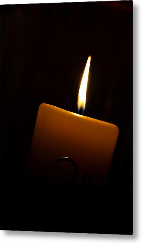 Candle Metal Print featuring the photograph Candle Light by Rajendra Pisavadia