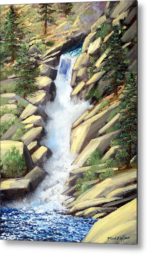 Landscape Metal Print featuring the painting Canyon Falls by Frank Wilson