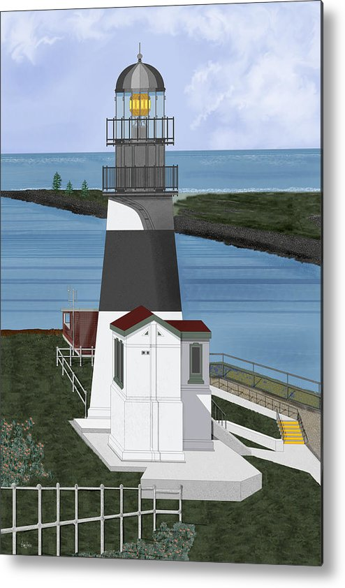 Lighthouse Metal Print featuring the painting Cape Disappointment At Fort Canby Washington by Anne Norskog
