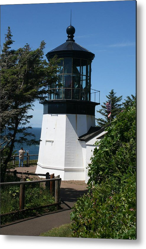 Lighthouse Metal Print featuring the photograph Cape Meares Lighthouse Li 100 by Mary Gaines